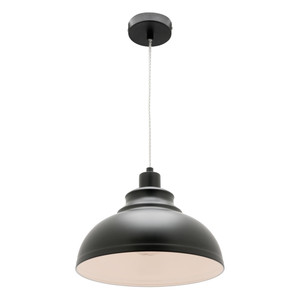 Risto is an Industrial Look Matt Black Metal Pendant with Clear Twisted Cable. Perfect to Add an Industrial Touch to Kitchen and Living Areas.