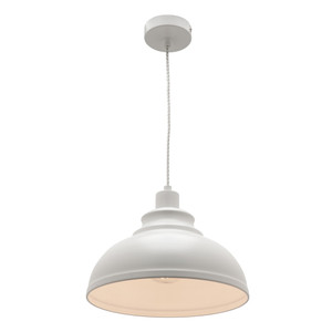 Risto is an Industrial Look White Metal Pendant with Clear Twisted Cable. Perfect to Add an Industrial Touch to Kitchen and Living Areas.