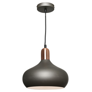 Sloan is a Modern Steel Charcoal Pendant with Copper Highlights. Featuring a Stunning, Clean and Stylish Look, Sloan is sure to Add Class to a Variety of Interiors. Includes Height Adjustable Black Cable and Canopy. LED Compatible.