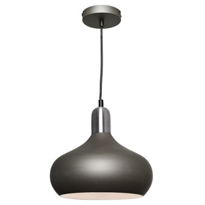 Sloan is a Modern Steel Charcoal Pendant with Satin Chrome Highlights. Featuring a Stunning, Clean and Stylish Look, Sloan is sure to Add Class to a Variety of Interiors. Includes Height Adjustable Black Cable and Canopy. LED Compatible.