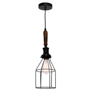 Black Cage Pendant with Teak Timber Handle, 2 Metre Black Twist Look Adjustable Cable. Perfect to Add a Stylish, Industrial Look to Your Home.