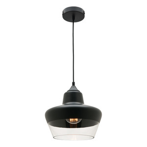 Stout is a Stunning Black/Clear Glass Single Pendant with 2 Metre Black Adjustable Cable and Canopy. Stout is a Modern Contemporary Fitting sure to Add Class and Style to Any Home. Perfect for Kitchen, Dining or Living Room.