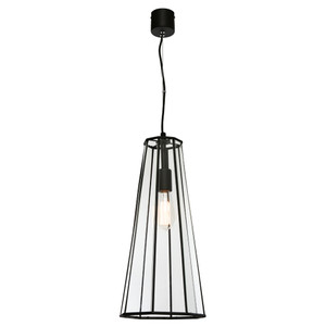 Zara is a Modern and Sleek Looking Clear Glass Pendant with Black Frame and Canopy. Featuring 8 Glass Panels in a Stylish Lantern Shape with Clear Adjustable Cord. This Gorgeous Pendant will Look Amazing in Any Room in the Home!