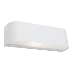 1 Light White Up/Down Wall Light with Frosted Glass. A Modern and Contemporary Fitting, the Benson is Stylish with a Sleek Steel Finish. Perfect for Bedrooms, Hallways and Living Areas.