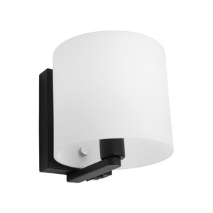 Tida is a Modern and Trendy Wall Light with Black Back Plate and Arm, Matt Opal Glass and Chrome Highlights. Rocker Switch in Bottom of Backplate.