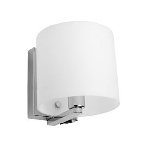 Tida is a Modern and Trendy Wall Light with Chrome Back Plate and Arm, Matt Opal Glass and Chrome Highlights. Rocker Switch in Bottom of Backplate.