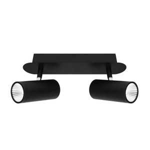 Smart and Modern 2 Light Rail Spot with Classy Black Finish, Adjustable Knuckle and 45 Degree Beam Angle. Includes 2 x 5W Dimmable LED COB.