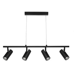 Smart and Modern 4 Light Pendant on a Rail with Ceiling Canopy, Classy Black Finish and Adjustable Clear Cable. Includes 4 x 5W Dimmable Integrated LED COB.