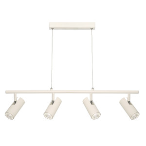 Smart and Modern 4 Light Pendant on a Rail with Ceiling Canopy, Classy White Finish and Adjustable Clear Cable. Includes 4 x 5W Dimmable Integrated LED COB.
