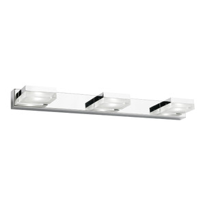 Cube is a Classy 3 Light LED Vanity Wall Light with Frosted Acrylic Lens and Chrome Finish. Perfect to Add a Touch of Style and Flare to Any Bathroom or Vanity Area. Includes 3 x 5W Integrated LED Lights in Cool White Light Output.