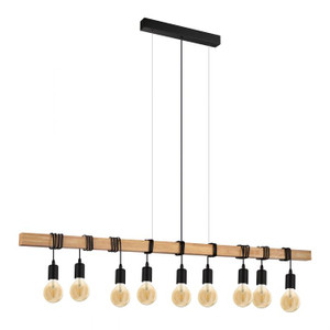 This nine light pendant luminaire of the TOWNSHEND series impresses with its rustic design and the material mix of black steel and light solid wood. Pair with LED filament globes to complete the look.