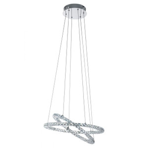 This pendant luminaire from the series VARRAZO is made of chrome-plated steel and clear crystal.