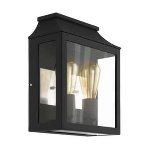 This wall luminaire of the series SONCINO from the outdoor collection is made of black powder-coated steel and clear glass. It is suitable for larger driveways or visually large wall areas.