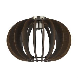 STELLATO 3 - 1 Light DIY Ceiling Light Satin Nickel with Brown Timber Shade
