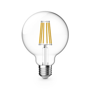 8W G95 LED Filament lamps. Dimmable, Clear Lens