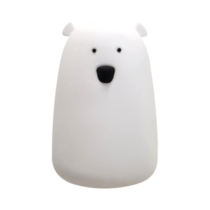 Super cute Polar Bear Childrens Night Light. 1W LED polar bear night light. Soft silicone body. 4 colour changing LEDs (warm white and RGB). Tap to change colour mode. Rechargeable lithium battery. USB cable included.