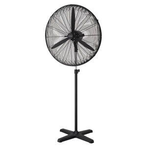 Long life motor with 100% copper wire. Sturdy heavy-duty base. Wide range horizontal oscillation. Tiltable head and height adjustable metal pole. 2.3m power cord with plug supplied. 3 speeds switch settings. Ultra-high 16,000 m³/hr airflow.