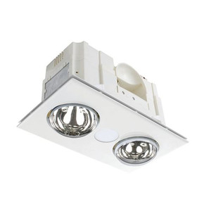 The Powerful and efficient 3-in-1 Bathroom Mates, that suits small to medium bathrooms. With a 9W 1050 lumen LED centre light. It is CCT Switchable between 3000K/4200K/6000K. It also has 2 x 275W E27 infra-red heat globes. With a powerful 75W ball bearing motor, is has a High velocity air movement of 300m³/hr.