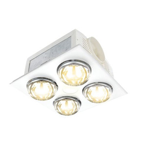 Powerful and efficient 3-in-1 Bathroom Mates, that suits medium to large bathrooms. It has a 9W 1050 Lumen LED centre light which can be switched 3000K/4200K/6000K. The unit has 4 x 275W infra-red heat globes. With a powerful 75W ball bearing motor, it has a high velocity 300m³/hr air movement.