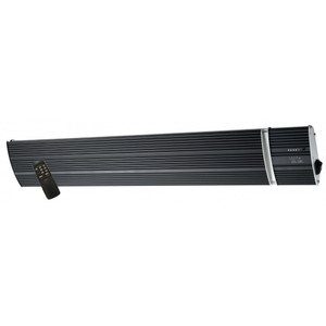 Radiant Strip Heater with grooved heating plate and specially adapted surface to increase heat diffusion. Rear insulation of high density rock wool backing to reduce heat loss. Plug and Lead and Remote Control included. Perfect for covered outdoor areas to create warm ambient atmosphere.
