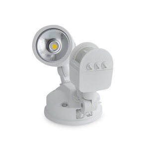 12W IP44 LED Single Spotlight with Sensor White