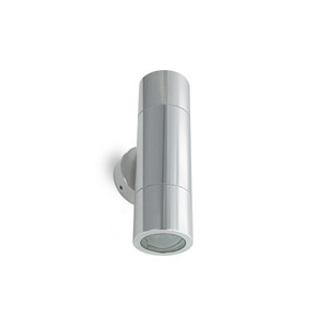 2 X 6W LED Up/Down exterior wall light with glass diffuser including LED lamps – GU10 Silver