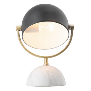 Ainsley table lamp with satin brass features, adjustable matt black metal shade and white marble base. Includes 1.8m black fabric cord with inline switch. Matching floor lamp also available.