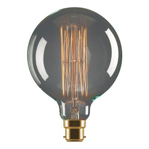 Tungsten 25W Carbon Filament G125 Sphere Shaped Lamp 240V - B22 or E27