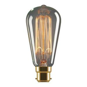 Tungsten 25W Carbon Filament Pear Shaped Lamp 240V - B22 or E27