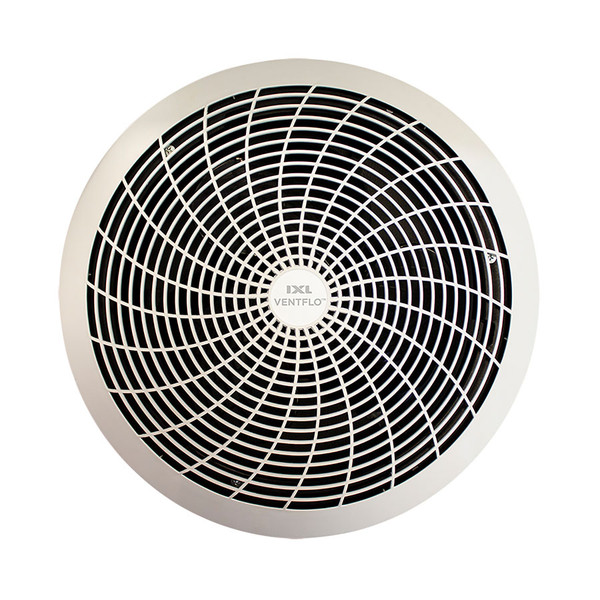 Ventflo 250mm is a powerful exhaust fan suitable for bathrooms, kitchens, laundries and toilets. Ventflo 250 comes with flex and plug for simple installation, and features strong airflow extraction up to 538m3/hr. The fascia is dishwasher safe and clips off for easy cleaning.