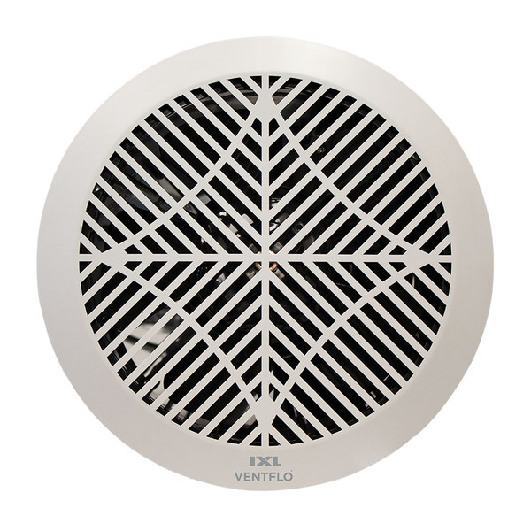The Eco Ventflo 250mm Extractor Fan features 624m3/h extraction and is suitable for installation in bathrooms, kitchens, laundries and toilets. It has been designed using back draught shutters to prevent warm air escaping from your bathroom into the roof cavity when the exhaust fan is not in use. This helps to maintain a comfortable temperature in the bathroom, meaning less energy is required for heating. It also prevents draughts from entering the room via the ceiling. This clever design means the Eco Ventflo is suitable for use in 5-Star Energy Rated homes where exhausting into the roof cavity is allowable. Eco Ventflo 250 has IPX2 rating and has a dishwasher safe fascia.