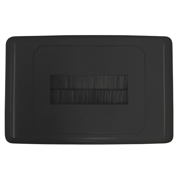Outlet Plate with Brush Cover Black