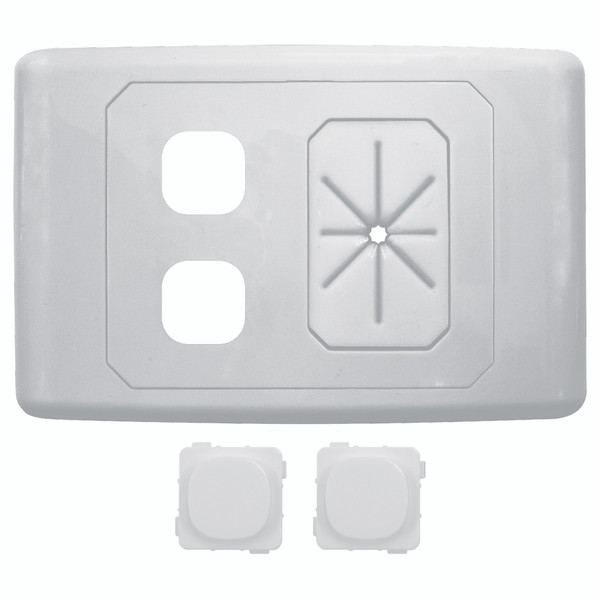 2 Way Outlet Plate With Cable Management Including 2 Blank Inserts