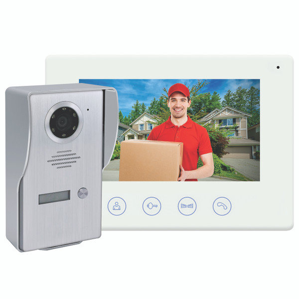 Wi-Fi Video Doorbell with Colour Monitor and Smart Device Access Brushed Chrome