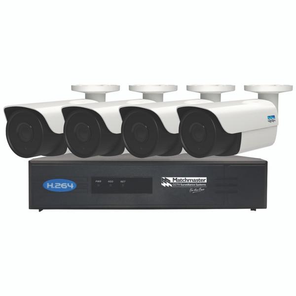 LAN (POE) CCTV Security Kit 2TB Storage with 4x 4MP Bullet Cameras