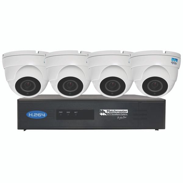 LAN (POE) CCTV Security Kit 2TB Storage with 4x 4/5MP Dome Cameras