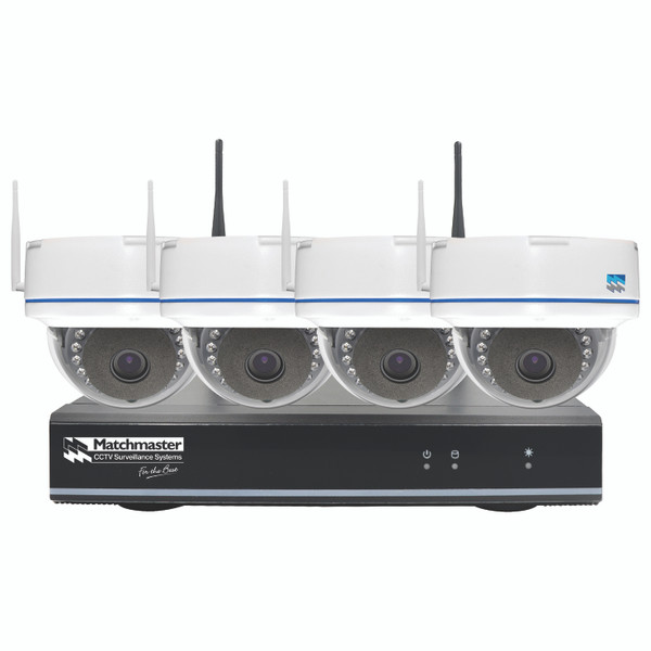 Wi-Fi CCTV Security Kit 2TB Storage with 4x 2MP Dome Cameras