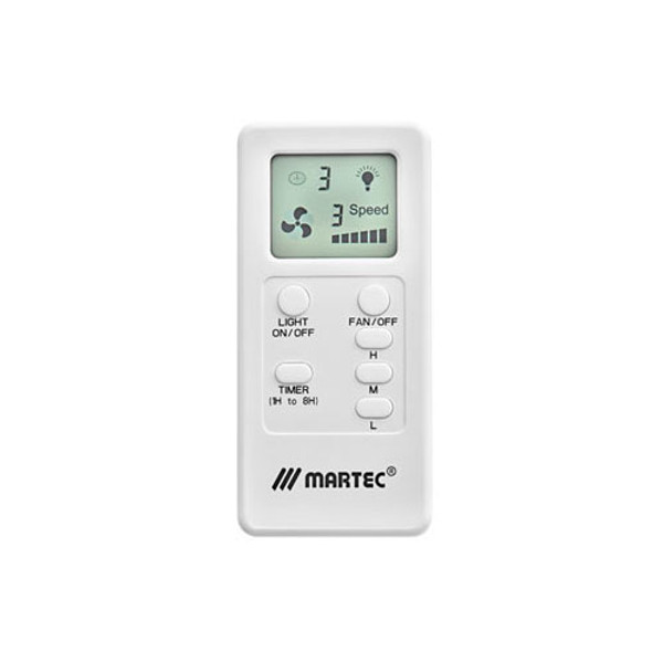 Premium ceiling fan remote control with universal radio frequency and huge range of features including 1 - 8 hour timer, soft touch buttons, LCD screen. Suitable for all Martec AC Ceiling Fans.