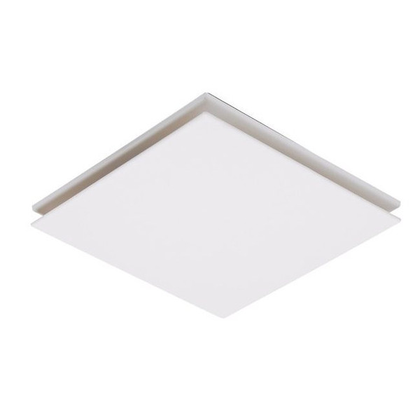 A square exhaust fan featuring a low profile, slim design and high air extraction. Also available with TriColour LED light.