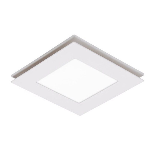 A square exhaust fan featuring a low profile, slim design and high air extraction. Includes TriColour LED light.