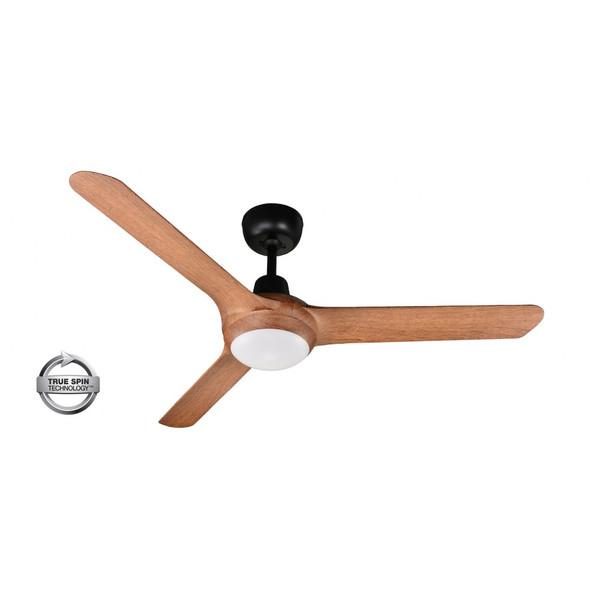 "Spyda 3 Blade 50"" Ceiling Fan with Light Matt Black with Teak Blades"