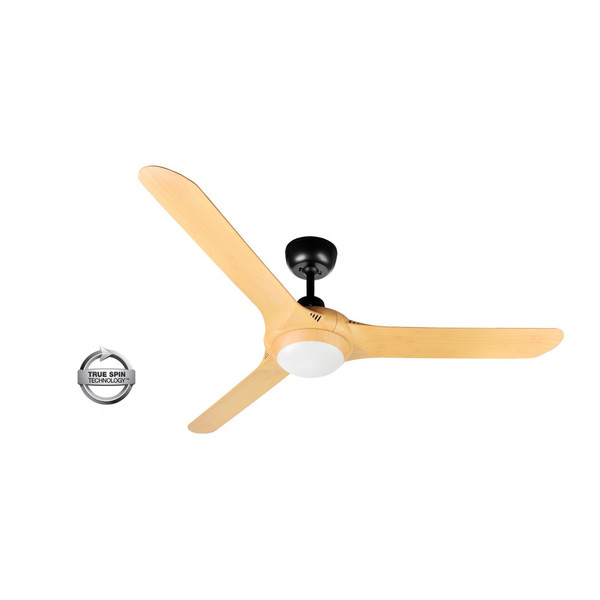 "Spyda 3 Blade 56"" Ceiling Fan with Light Matt Black with Bamboo Blades"