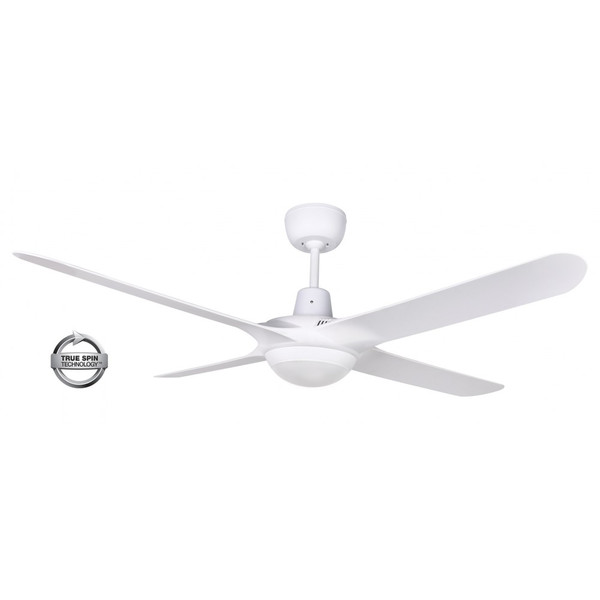 1250mm Fully Moulded Polycarbonate Composite 4 Blade Ceiling Fan with True Spin Technology motor, comes with a 20W TriColour dimmable LED light. Suitable for indoor, covered outdoor and commercial applications.