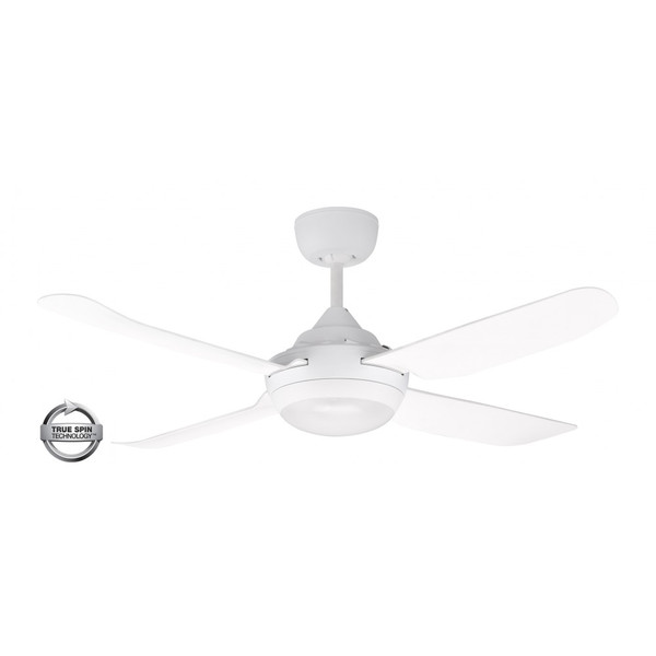 1220mm Glass Fibre Composite 4 Blade Ceiling Fan with True Spin Technology™ motor with TriColour Step Dimmable LED light included. Suitable for indoor/covered outdoor and commercial applications.