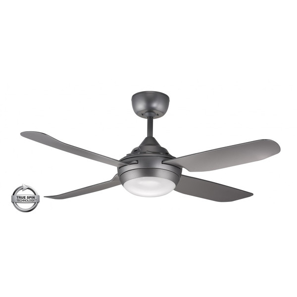 1300mm Glass Fibre Composite 4 Blade Ceiling Fan with True Spin Technology™ motor with TriColour Step Dimmable LED light included. Suitable for indoor/covered outdoor and commercial applications.