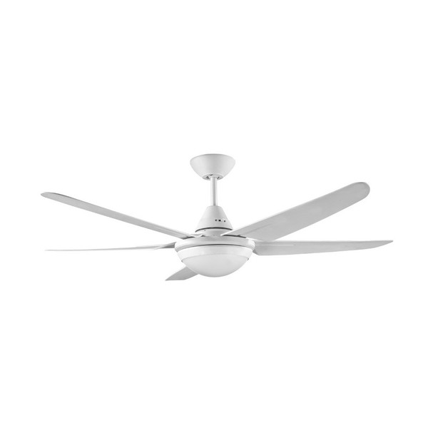 New Generation 1320mm precision moulded ABS 5 blade white ceiling fan with 18W LED light included. Suitable for indoor and covered outdoor areas.