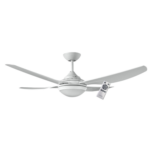 1320mm Energy Saving DC ABS 4 Blade Ceiling Fan with 18W LED light and 5 speed remote control included. Suitable for indoor and covered outdoor areas.