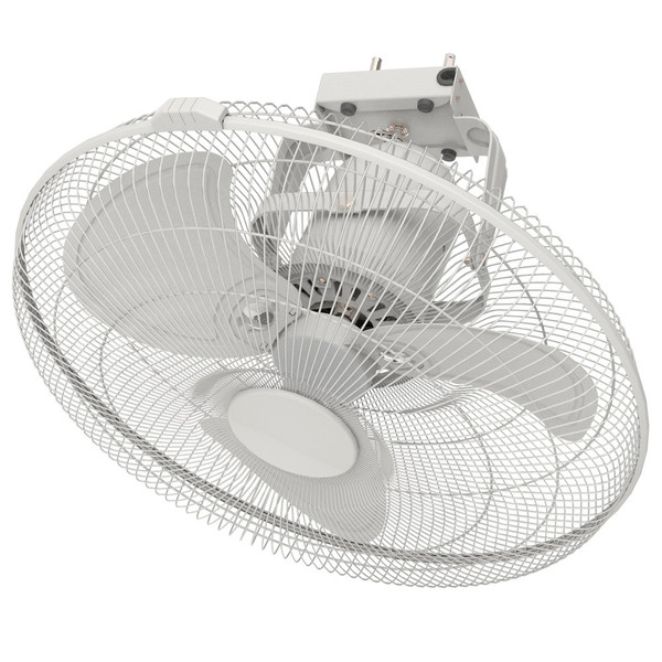 45cm Oscillating Cooling fan with Matt White Grille and Brushed Aluminium Blades. Ceiling mounted with anti-vibration patented blade design.