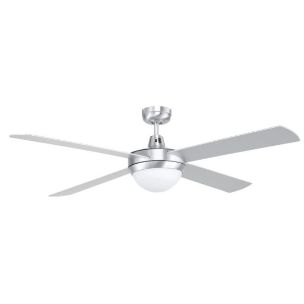 A reliable, contemporary styled ceiling fan with four quiet plywood, timber blades combined with a powerful 50W motor. Diecast aluminium body and canopy construction, with 4 painted plywood blades 3 speed wall control with switch included.