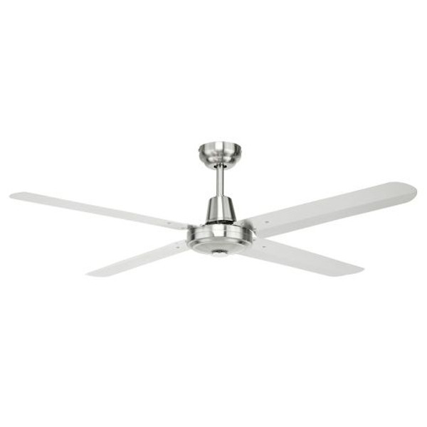 Atrium is a stainless steel ceiling fan available in 3 sizes from 48 inches to 56 inches. The 4 steel blade fan creates powerful airflow which suits living rooms and undercover patios. This industrial style ceiling fan is elegant and long lasting and also includes an optional light kit to enable a light to be added later.